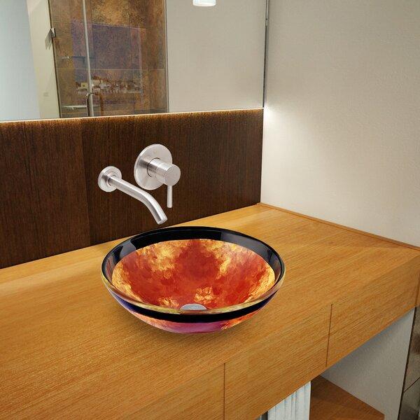Auburn/Mocha Fusion Glass Circular Vessel Bathroom Sink with Faucet by VIGO