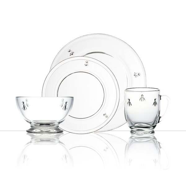 Napoleon Bee 24 Piece Glass Full Dinnerware Set by La Rochere