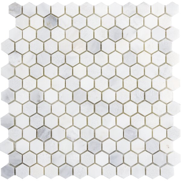 Winter Hex Mix 1 x 1 Marble Mosaic Tile in Frost by Emser Tile
