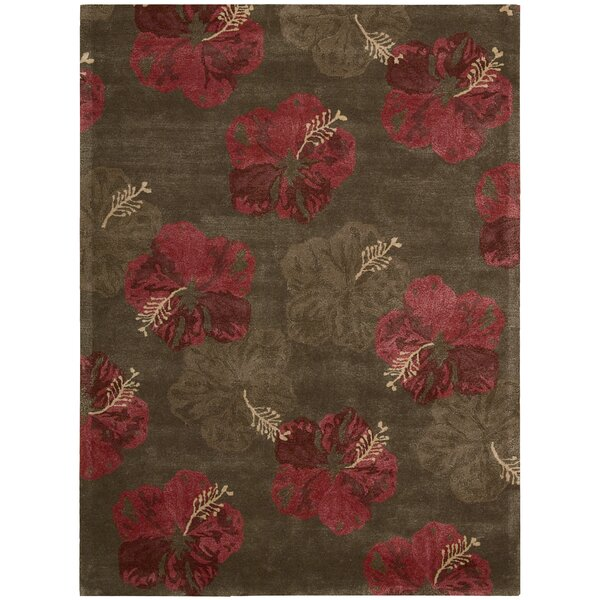 Sanjeev Hand-Woven Chocolate/Red Area Rug by Bayou Breeze
