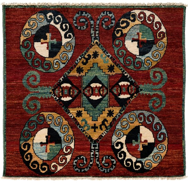 One-of-a-Kind Kaitag Hand-Knotted Red Area Rug by Darya Rugs