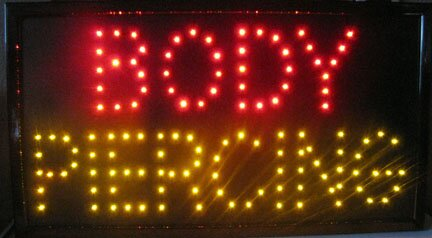 Body Piercing LED Sign Hanging Lamp by NeoPlex