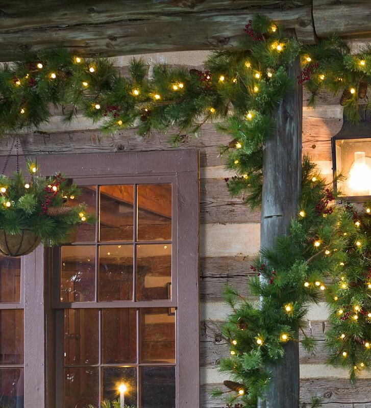 lighted outdoor battery operated holiday garland with auto timer - Battery Christmas Lights With Timer