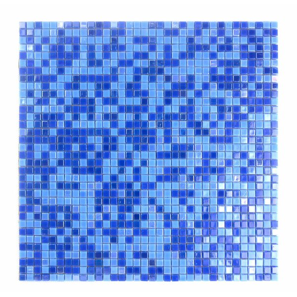 Galaxy Straight 0.31 x 0.31 Glass Mosaic Tile in Glazed Blue by Abolos
