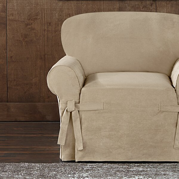 Sueded Twill Furniture Box Cushion Armchair Slipcover By Sure Fit