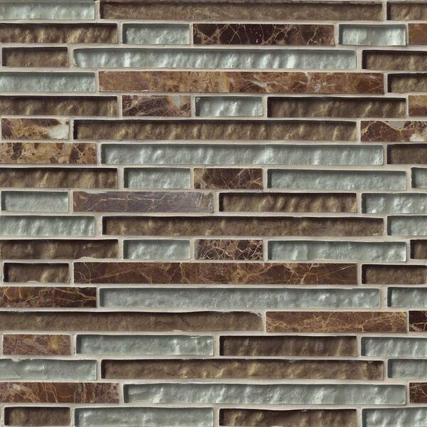Celestine Blend Interlocking Pattern Random Sized Glass/Stone Mosaic Tile in Brown by MSI