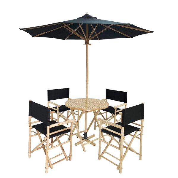 Atchison 5 Piece Dining Set with Umbrella by Breakwater Bay