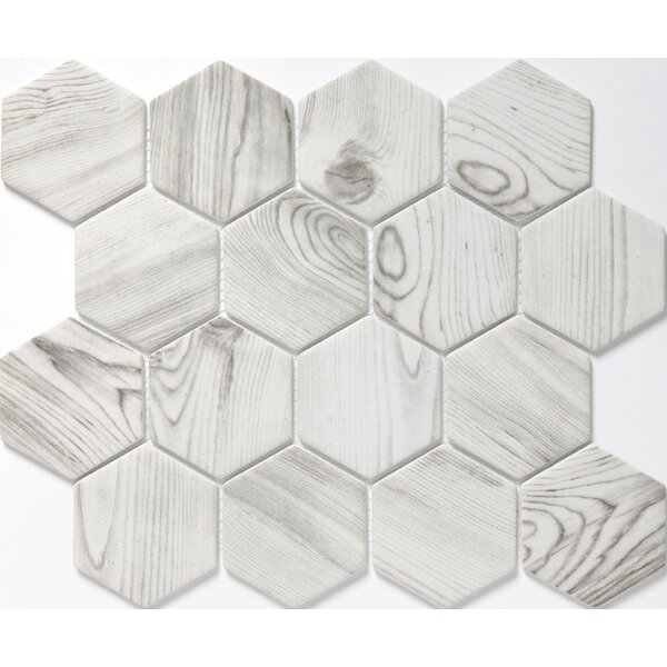 Echo Hex 3 x 3 Glass Mosaic Tile in White by Emser Tile