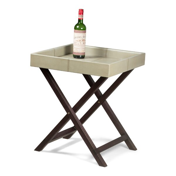Sprague Leather Tray Table By Canora Grey