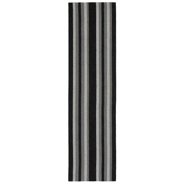 Cranford Stripe Hand-Tufted Gray/Black Indoor/Outdoor Area Rug by Breakwater Bay