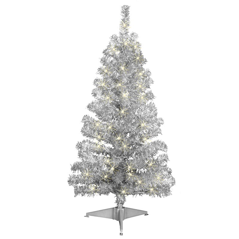 4' Silver Artificial Christmas Tree with 70 Clear Lights with Stand - Jeco Inc. 4' Silver Artificial Christmas Tree With 70 Clear Lights