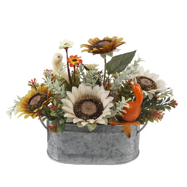 10 Sunflowers and Pumpkins Mix Floral Arrangement in Tin Pot by August Grove