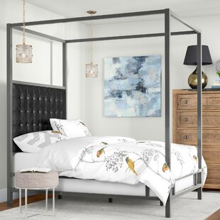 Save to Idea Board. Black Bonded Leather & Black Canopy Beds Youu0027ll Love | Wayfair