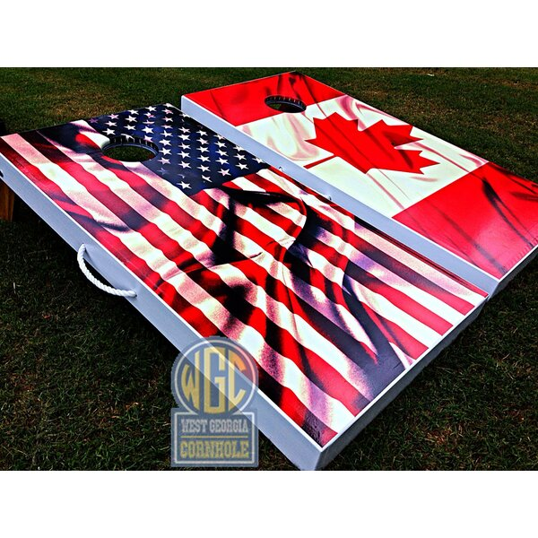 American and Canadian Flag 10 Piece Cornhole Set by West Georgia Cornhole