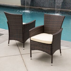 Carmack Patio Dining Chair with Cushion (Set of 2) Brayden Studio