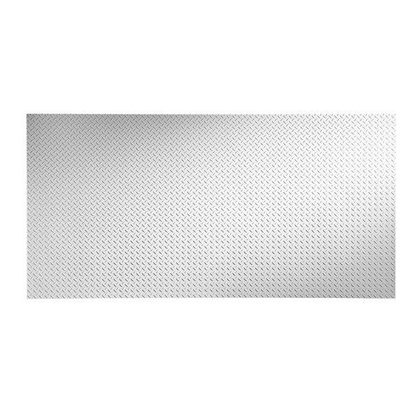 Diamond Plate 48 x 96 PVC Backsplash Panel in Gloss White by Fasade