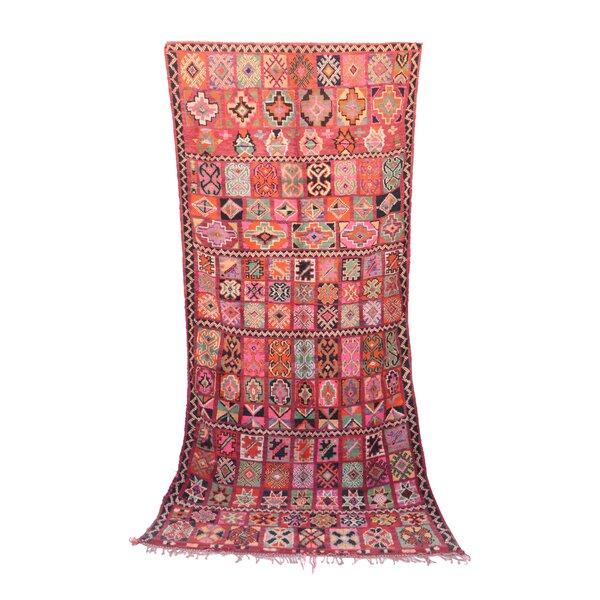 Boujad Vintage Moroccan Hand Woven Wool Orange Area Rug by Indigo&Lavender