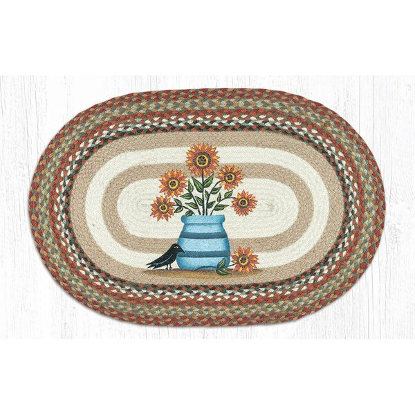 Morones Sunflowers in Crock Oval Red/Brown Area Rug by August Grove