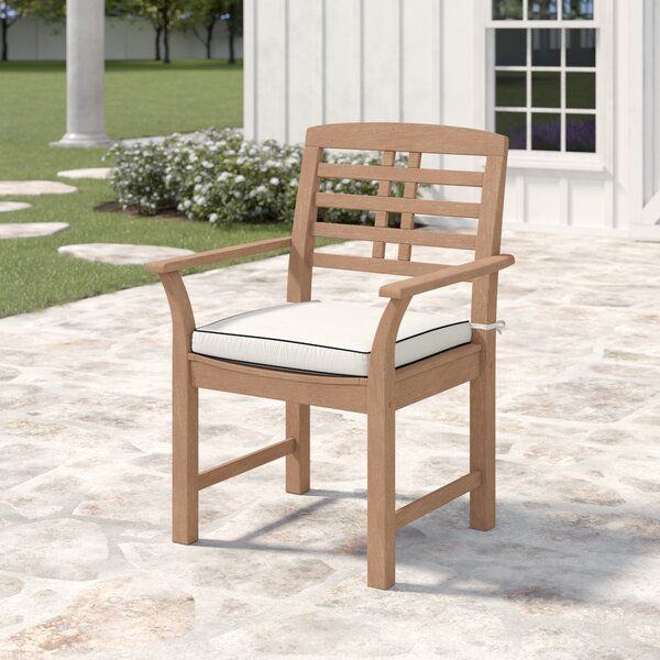 "Calila Teak Patio Dining Chair with Cushion (Set of 2) by Birch Laneâ""¢ Heritage"
