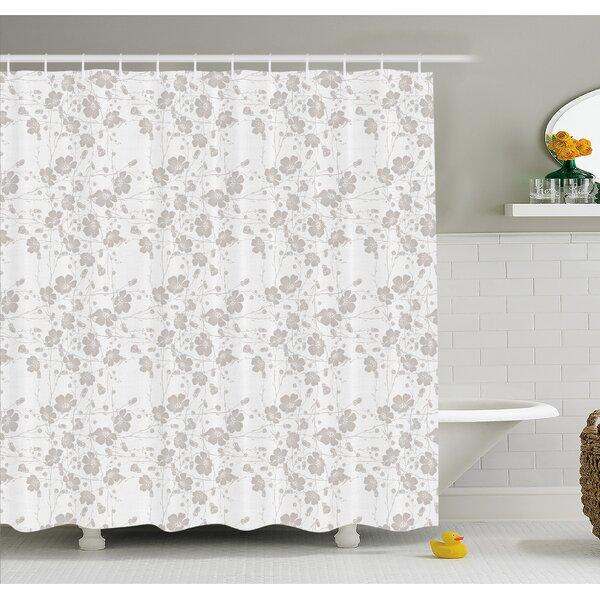 Natural Beauty Flower Hand Drawn Peonies Bouquet Florets Romantic Feminine Home Decor Shower Curtain Set by Ambesonne