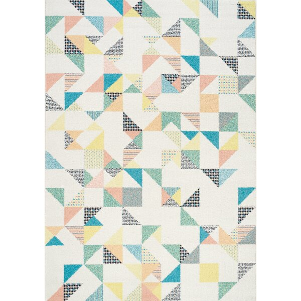 Burchell Quilted Pastels Cream Area Rug by Latitude Run