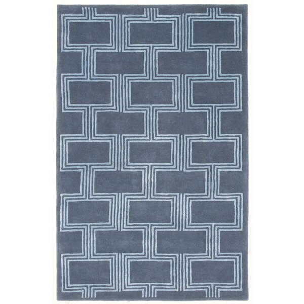 Gaydos Boxes Hand-Tufted Blue Indoor Area Rug by Brayden Studio