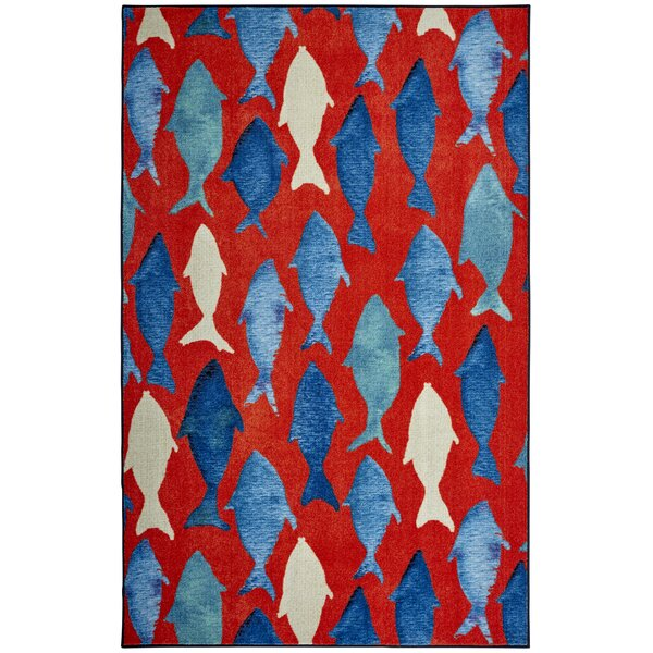 Wildermuth Red/Blue Area Rug by Breakwater Bay