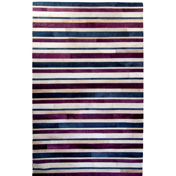 One-of-a-Kind Housman Hand-Woven Cowhide Purple/Blue Area Rug by Brayden Studio