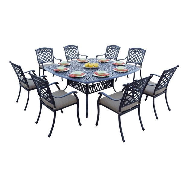 Circleville 9 Piece Dining Set with Cushions by Fleur De Lis Living