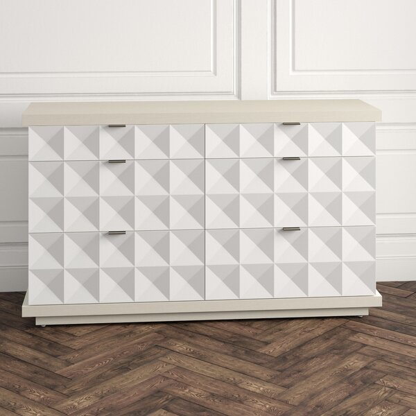 Axiom 6 Drawer Double Dresser with Mirror by Bernhardt
