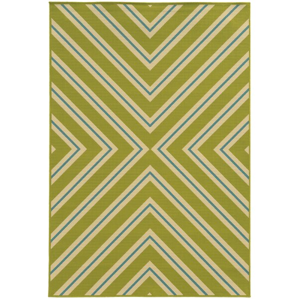 Heath Green/Ivory Indoor/Outdoor Area Rug by Ebern Designs