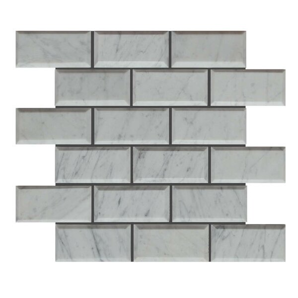 Pillow Edge Polished 2 x 4 Natural Stone Mosaic Tile in Carrara by QDI Surfaces