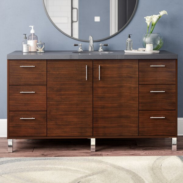 Cordie 60 Single American Walnut Birch Base Bathroom Vanity Set by Orren Ellis