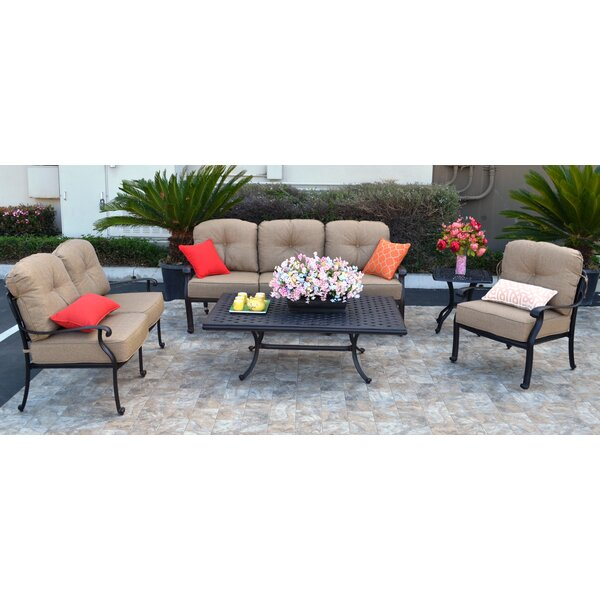 Nola 5 Piece Sunbrella Sofa Set with Cushions by Darby Home Co
