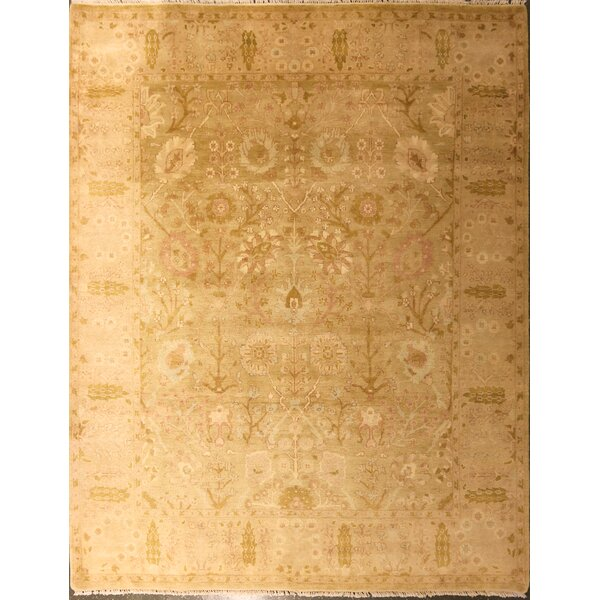 Edicott One-of-a-Kind Chinese Agra Hand-Knotted Wool Gold Area Rug by Canora Grey