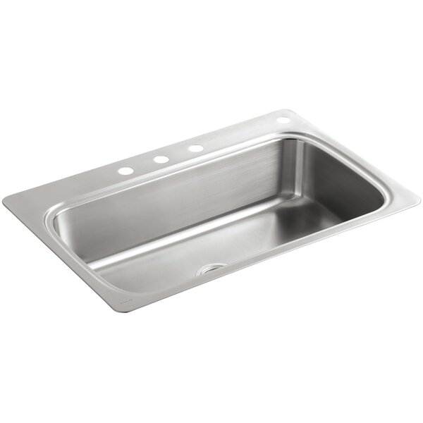 Verse 33 x 22 x 8-1/4 Top-Mount Single-Bowl Kitchen Sink with 4 Faucet Holes by Kohler