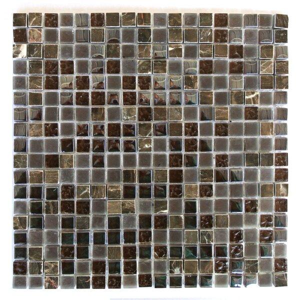 Quartz 0.63 x 0.63 Glass and Stone Mosaic Tile in Cioccolato by Abolos