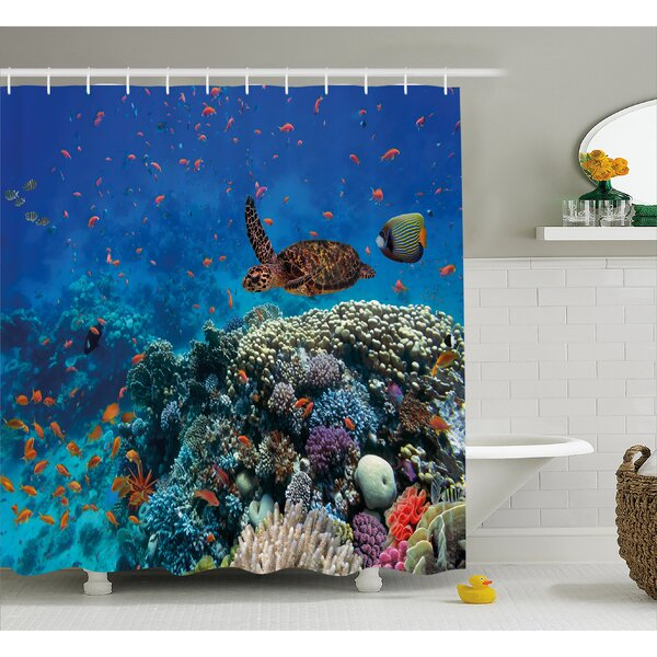 Fish and Turtle Decor Shower Curtain by East Urban Home