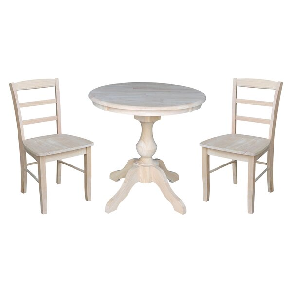 Quietwood 3 Piece Solid Wood Dining Set by Rosalind Wheeler
