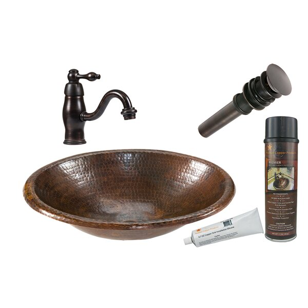 Oil Rubbed Bronze Metal Hand Hammered Oval Drop-In Bathroom Sink with Faucet