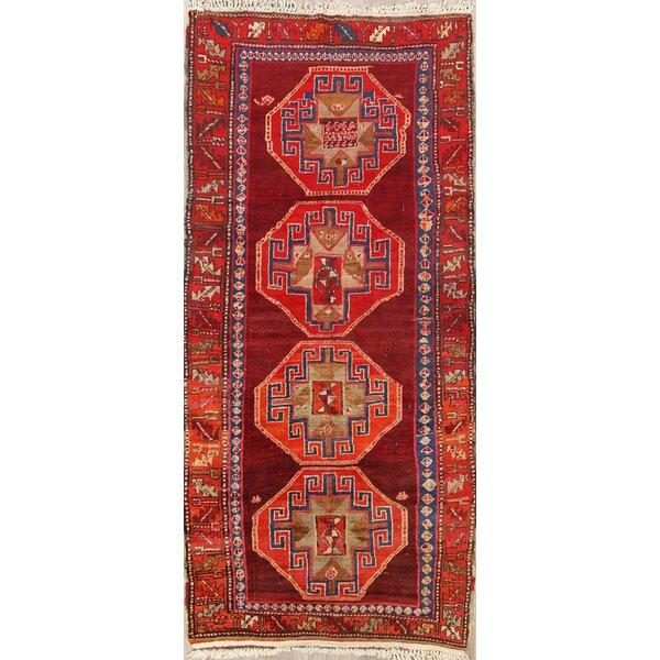 Skyler Vintage Geometric Kazak Caucasian Russian Classical Oriental Hand-Knotted Wool Red/Burgundy Area Rug
