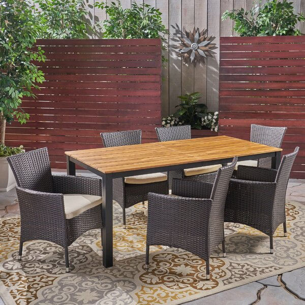 Meissner 7 Piece Teak Dining Set with Cushions by Gracie Oaks