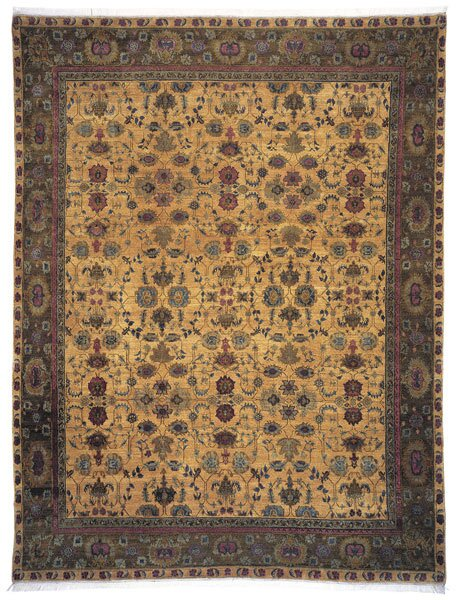 Oriental Hand-Knotted Wool/Silk Brown Area Rug