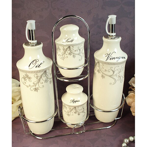 Damask 4 Piece Oil, Vinegar Salt and Pepper Set by D'Lusso Designs
