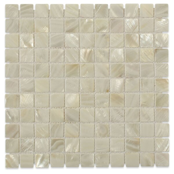 Castel Del Monte 1 x 1 Glass Pearl Shell Mosaic Tile in White by Splashback Tile