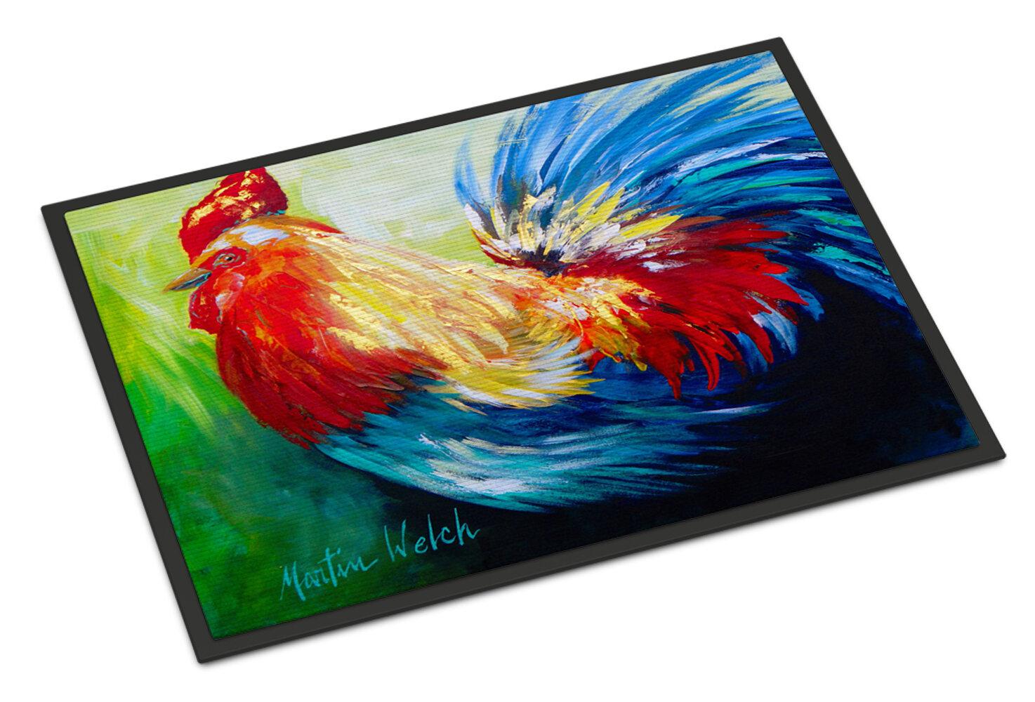 August Grove Jaiden Rooster Chief Big Feathers Bird Non Slip Indoor Door Mat Wayfair Ca