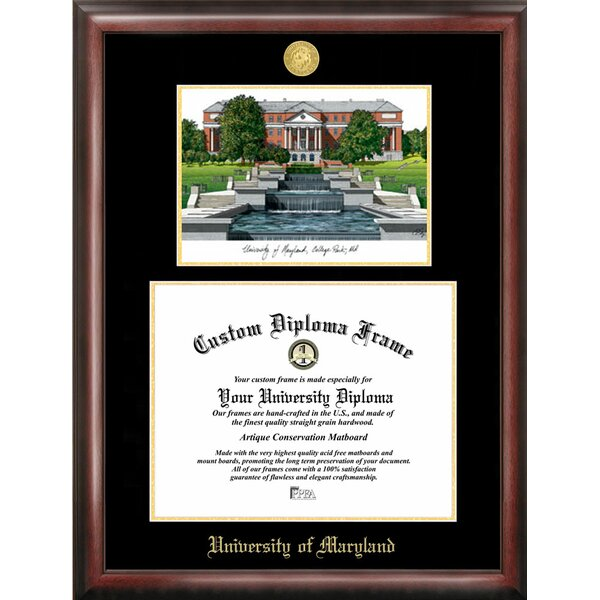 NCAA Maryland University Diploma Lithograph Picture Frame by Campus Images