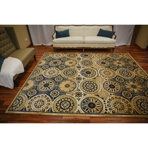 Rayan Modern Blooming Flowering Circles Dark Blue/Yellow Area Rug by Winston Porter
