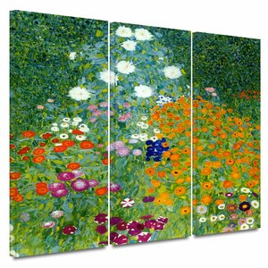 'Farm Garden' by Gustav Klimt 3 Piece Painting Print on Wrapped Canvas Set by Andover Mills