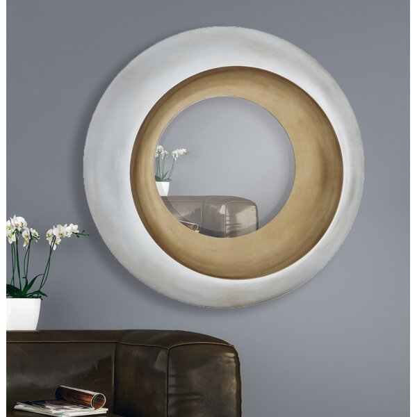 Unique Circular Beveled Glass Framed Wall Mirror by Majestic Mirror